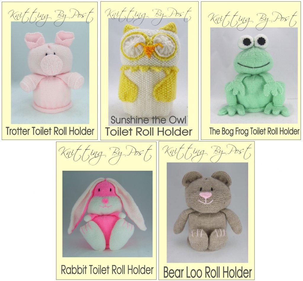 Knitting Patterns Toilet Roll Covers Set. Owl, Pig, Frog, Rabbit and ...
