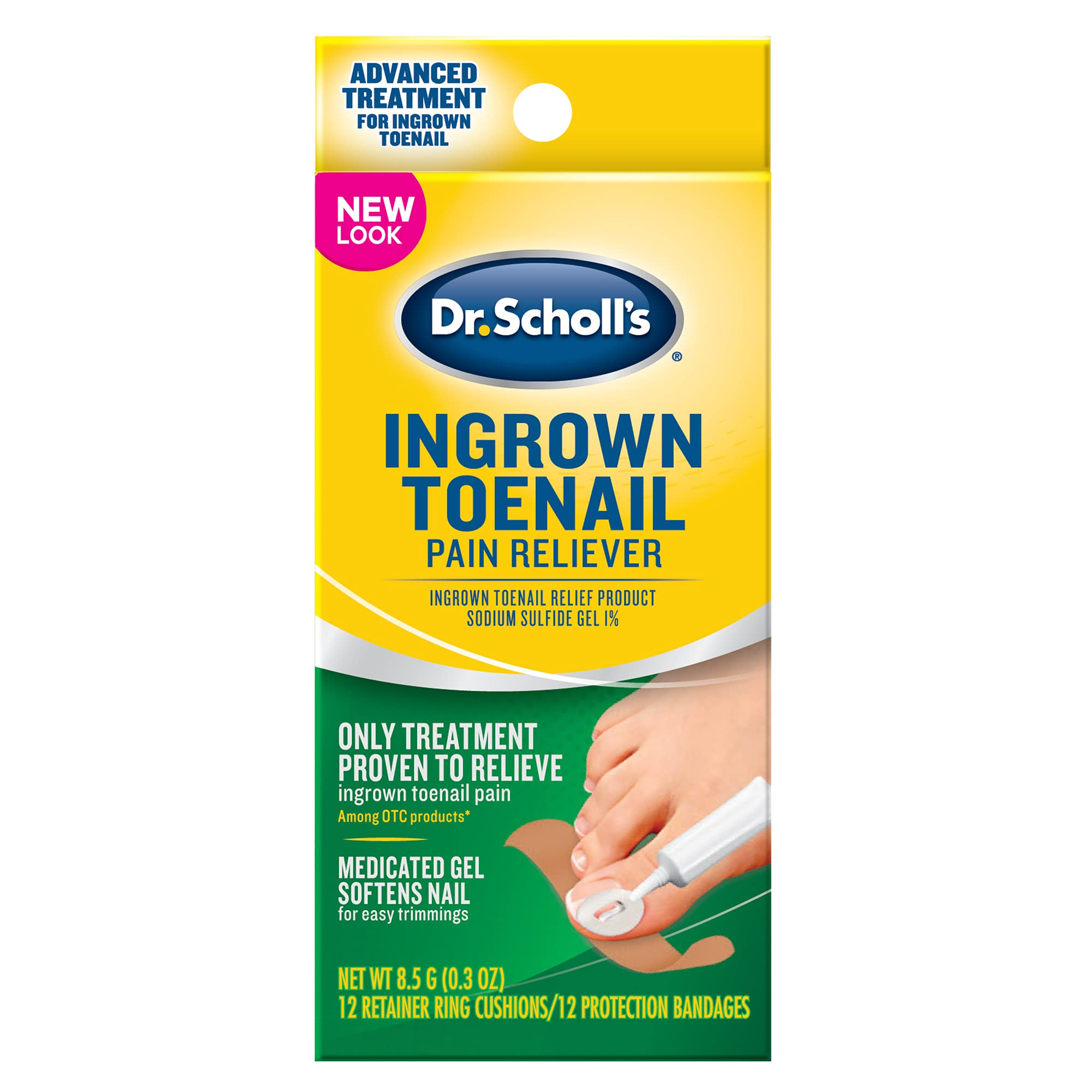 Dr. Scholl's Ingrown Toenail Pain Reliever, 0.3oz / Medicated Gel Softens Nails for Easy Trimming and Foam Ring and Bandage Protect the Affected Area