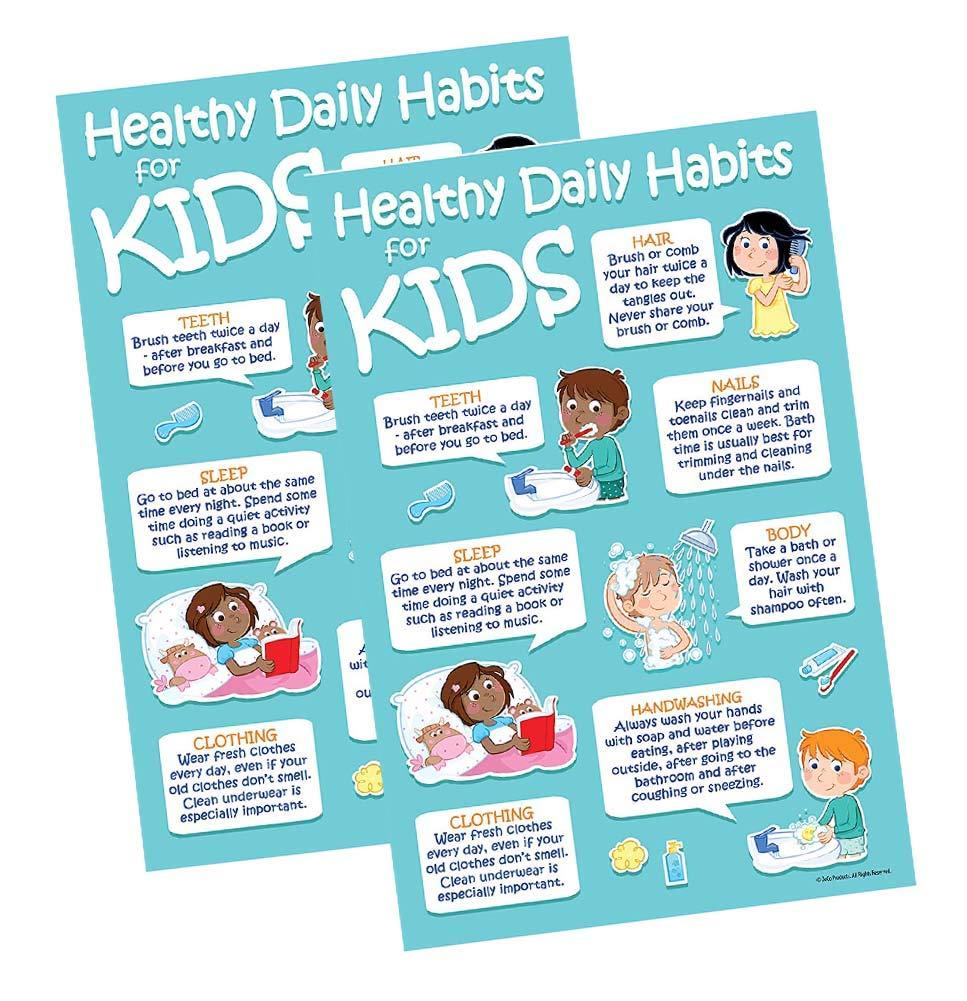 Nino Ideas Stoeltje.Kids 7 Healthy Habits Poster 12 X 18 In Laminated