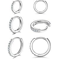 925 Sterling Silver Small Hoop Earrings Cubic Zirconia Huggie Hoop Earrings,3 Pairs Cartilage Piercing Earrings Ear Cuff…