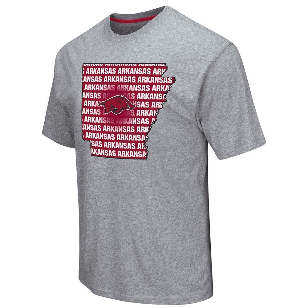 Colosseum Arkansas Razorbacks Gray State Outline Short Sleeve Shirts