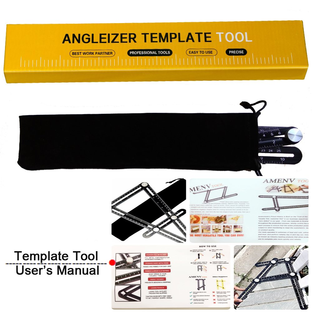AMENVTOOL Universal Angularizer Ruler - Full Metal Multi Angle Measuring Tool-Upgraded Aluminum Alloy Multi Functional Ruler(Black)-Ultimate Angleizer Template Tool by AMENVTOOL (Image #3)