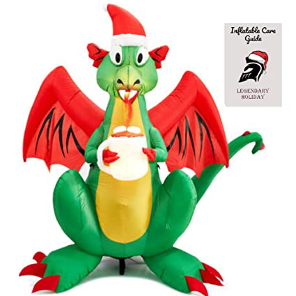 8d9f67cc13720 Amazon.com  Christmas Fire Breathing Dragon Inflatable 6 ft Inflatable Care  Guide  Garden   Outdoor