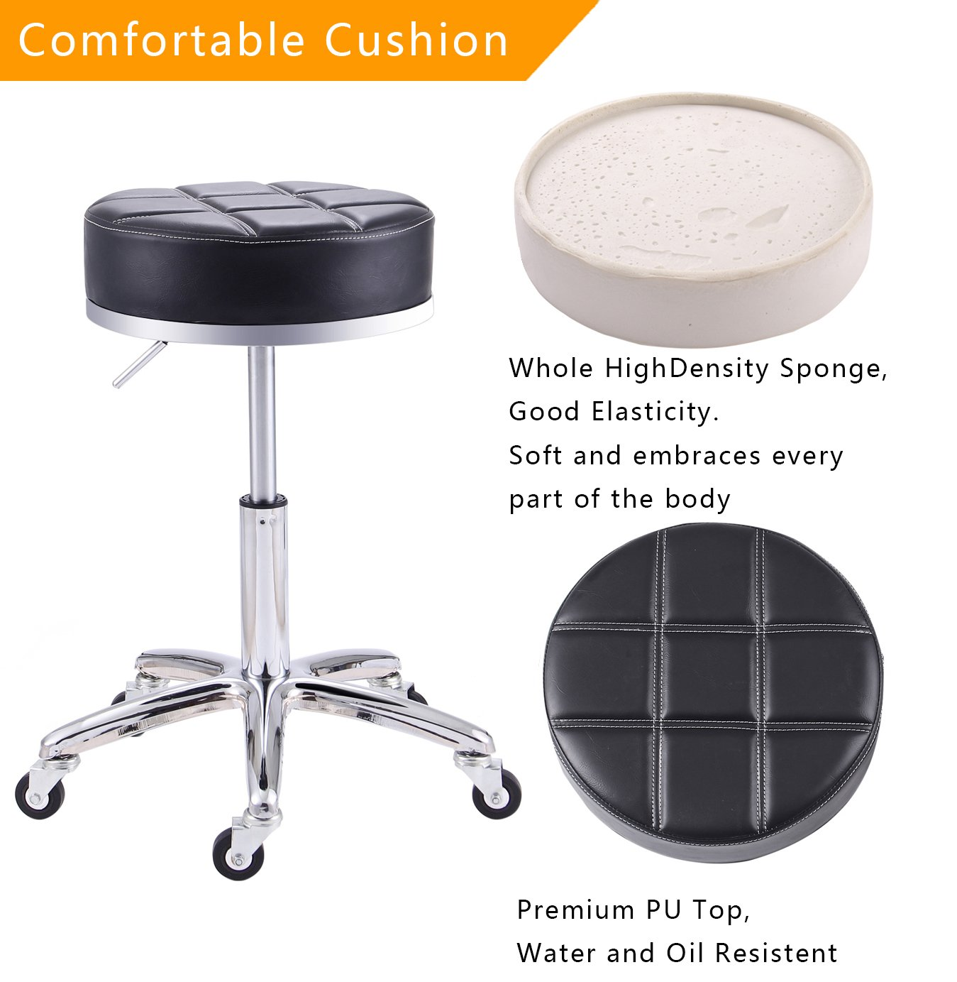 Rfiver Modern PU Leather Relief Hydraulic Adjustable Swivel Drafting Stool Chair for Salon Spa Massage Kitchen Office Shop Club Bar in Black SC1004-1 by Rfiver (Image #4)