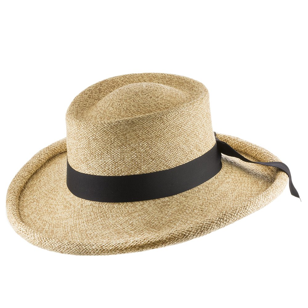 Ultrafino Malibu Gambler Straw Panama Hat With Rolled-Up Brim Natural and Dark Tan Straw 7 1/4 by Ultrafino