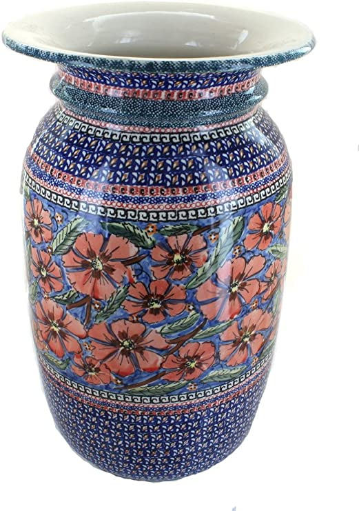 Amazon Com Blue Rose Polish Pottery Jungle Flower Tall Floor Vase Home Kitchen