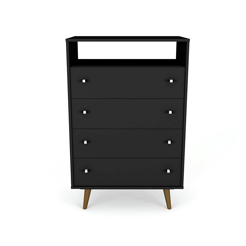 Manhattan Comfort 209BMC8 Liberty Modern 4 Drawer Bedroom Dresser and TV  Stand, Black