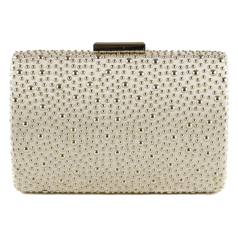 Clutch bag, Carola Gold,?Satin Studded, Dimensions in cm: 18 l x 11 h x 4 p, Anna Cecere