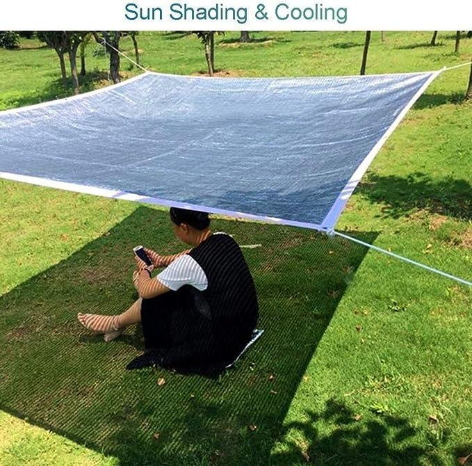 Invernadero malla de sombreo 75% Aluminet pantalla de tela con el borde de refuerzo y los ojales del papel de aluminio protector solar Reflect Red Por Pergola Césped Coches perrera (Tamaño: 3m