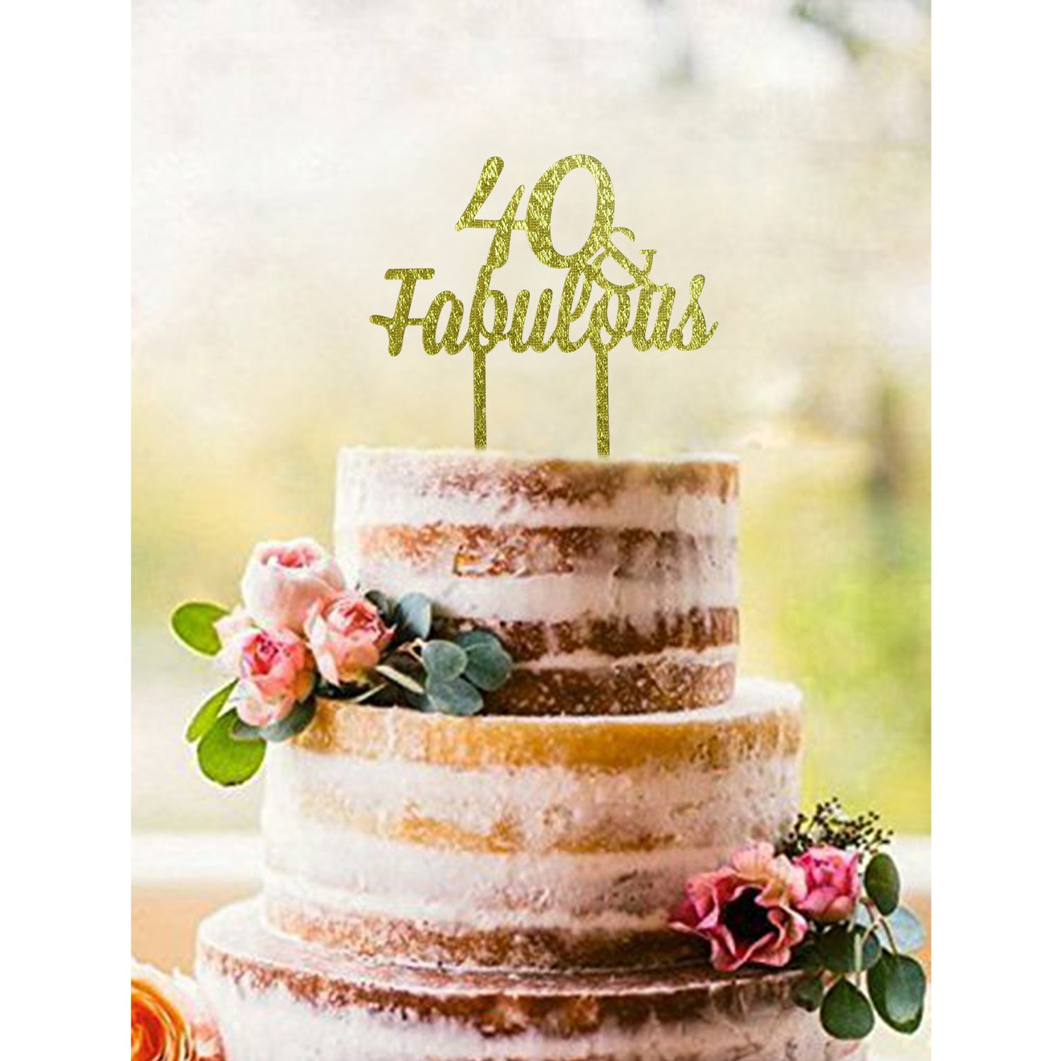 Amazon.com: ShinyBeauty Birthday-Cake-Topper-40th,Gold 40th Cake ...
