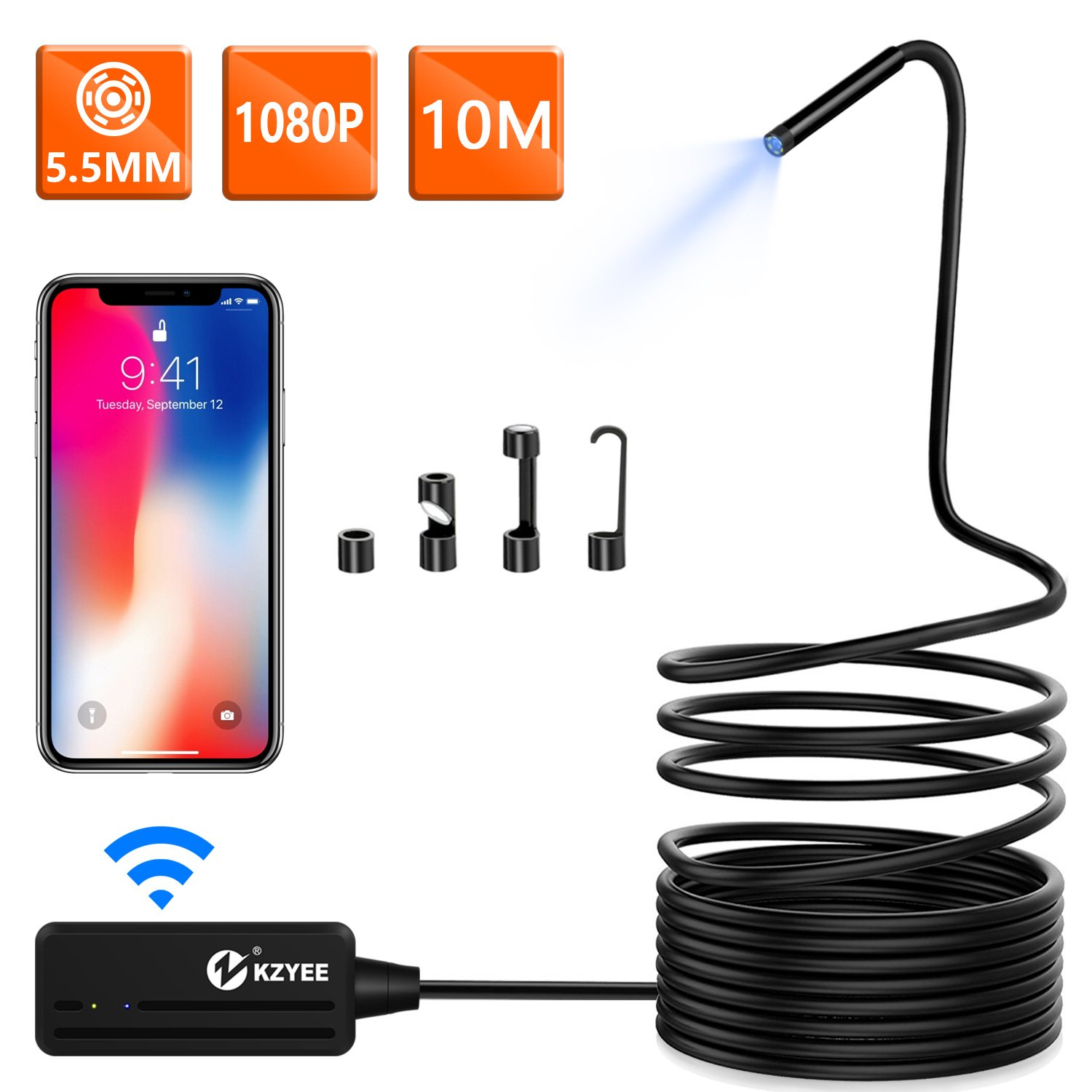 JIN Wifi Ear Endoscope USB Otoscope Inspection Camera Portable HD Borescope Ear Cleaning Tools Suitable For Android And IOS Smartphones,Windows MAC