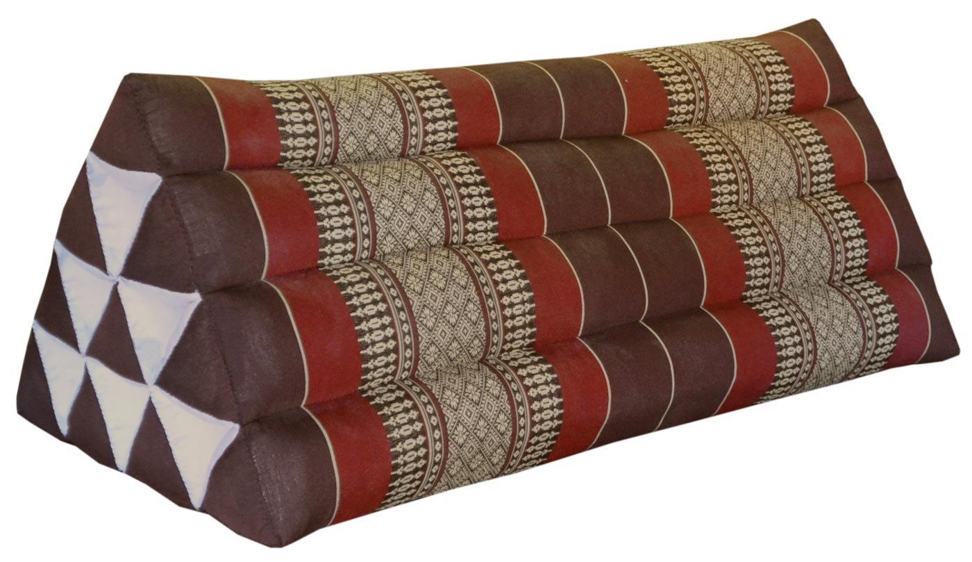 Thai triangular cushion XXL, brown/burgundy, relaxation, beach, kapok, made in Thailand. (82515) by Wilai GmbH