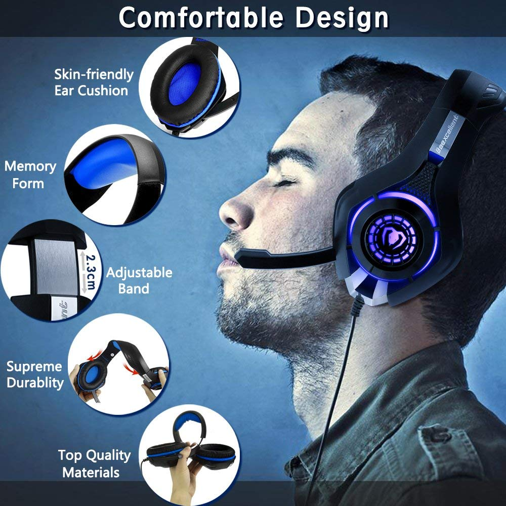 Beexcellent Gaming Headset for PS4 Xbox One PC Mac Controller Gaming Headphone with Crystal Stereo Bass Surround Sound, LED Light & Noise-Isolation Microphone by Beexcellent (Image #3)