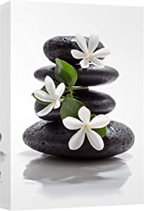 wall26 Canvas Prints Wall Art - Zen Basalt Stones with Calming Magnolia Flowers | Modern Wall Decor/Home Decoration Stretched Gallery Canvas Wrap Giclee Print. Ready to Hang - 12