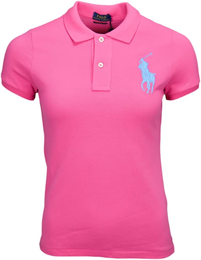 Ralph Lauren Polo Rose Big Poney Bleu Skinny pour Femme