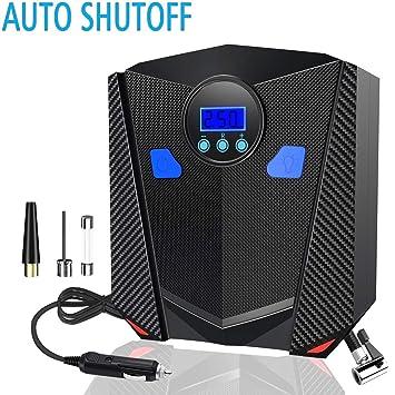 LEICESTERCN Inflador de neumáticos digital 12 V eléctrico automático de presión infladores con medidor de aire portátil Compresor para coche ...