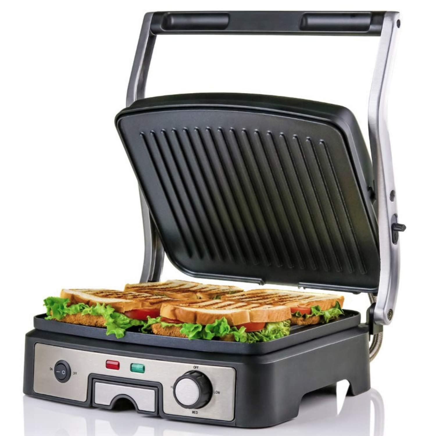 OVENTE GP1861BR Electric Panini, 180° Adjustable Hinge, Non-Stick, 3 Heat Settings, Drip Tray, Free Grill, 1500W, Brushed Silver, 6-Slice, Nickel by OVENTE