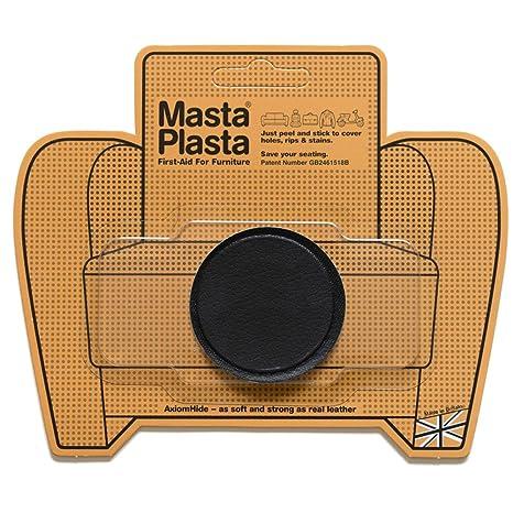 MastaPlasta Reparación Cuero, Polipiel y Skai - Parches Adhesivos Circulo Pequeño Liso (50mm) (Negro)