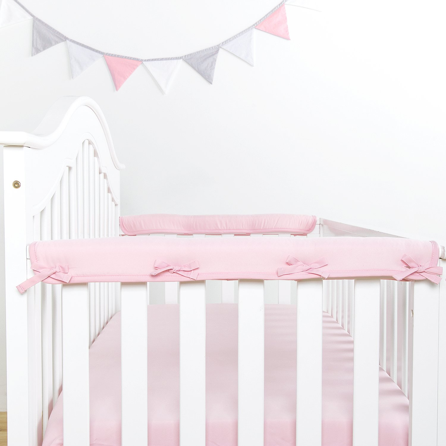 TILLYOU 2-Pack Padded Baby Crib Rail Cover Protector Safe Teething Guard Wrap for Narrow Side Crib Rails(Measuring Up to 8'' Around), 100% Silky Soft Microfiber Polyester, Reversible, Lt Pink/White