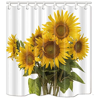 NYMB Sunflowers Shower Curtains For BathroomA Bunch Of With Green Leaves 69X70 Inches