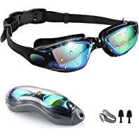 Swim Goggles,[Anti Fog/UV Resistant] Wide Clear Vision Swimming Goggles for adults Men Women,Bright Color Plated…