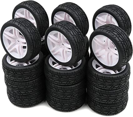 hobbysoul 24pcs 1//10 on road arrows Tires Soft Tyres Fit RC 1:10 Touring On Road Car wheels Rims
