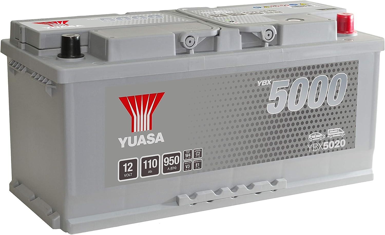 Yuasa YBX5020 Batterie de d/émarrage haute performance Argent