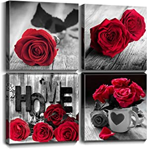 YOOOAHU Red Rose Flower Wall Decor Black and White Canvas HD Print Pictures Suitable for Bathroom Decorations and Kitchen Decorations Theme Sets