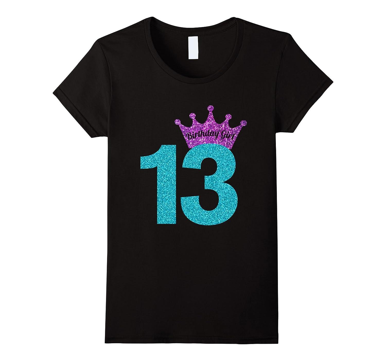 13th Birthday Girl Purple Crown Princess T-Shirt-TH