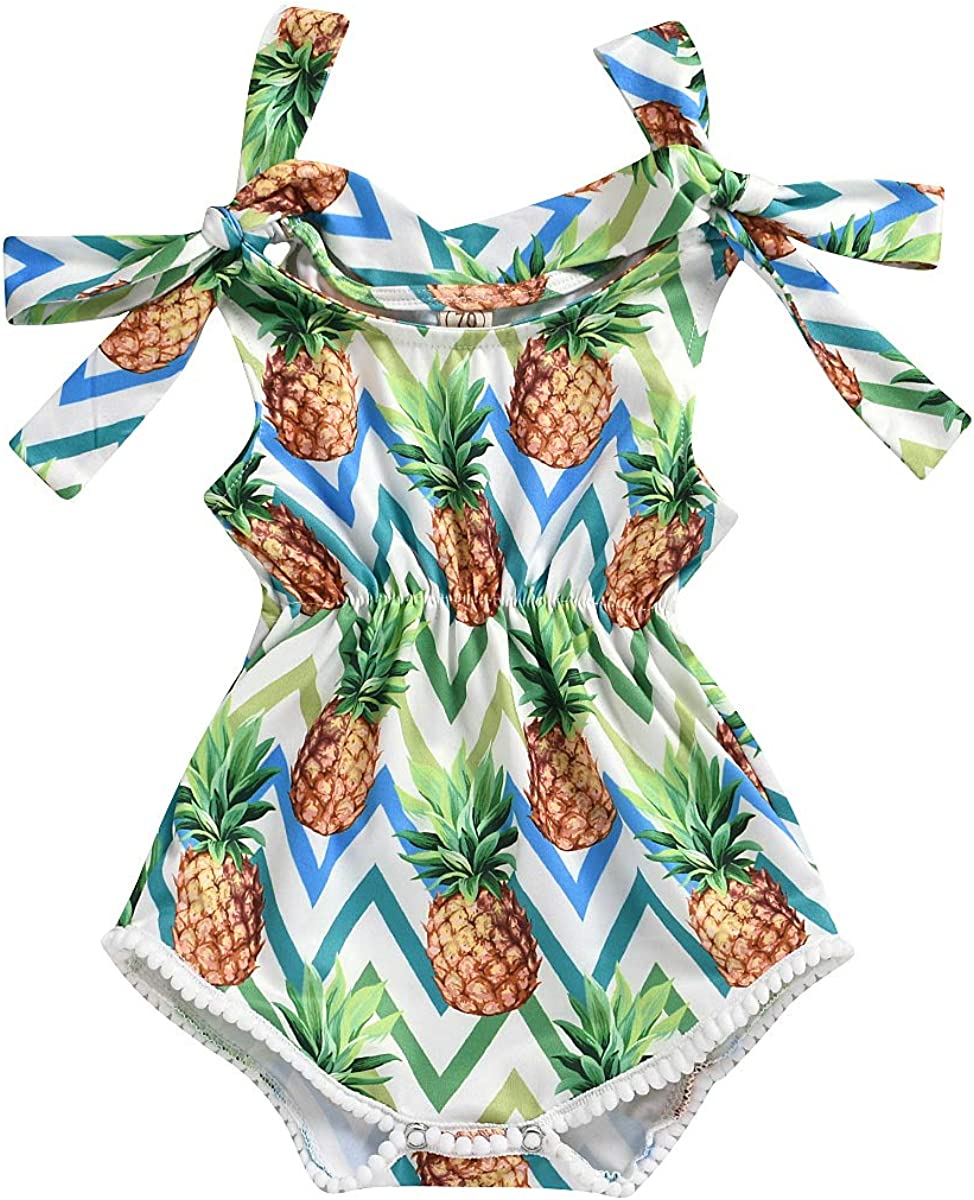 Newborn Baby Girl Clothes Sleeveless Pineapple Print Pompom Ball Tassel Strap Romper Bodysuit One-Piece Jumpsuit