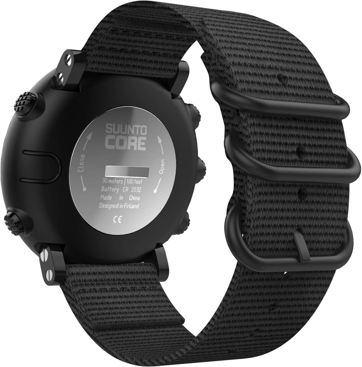 MoKo Pulsera para Suunto Core, Pulsera Deportivo de Reloj de Silicona, Pulsera Ajustable con Cierre de Clip - Negro