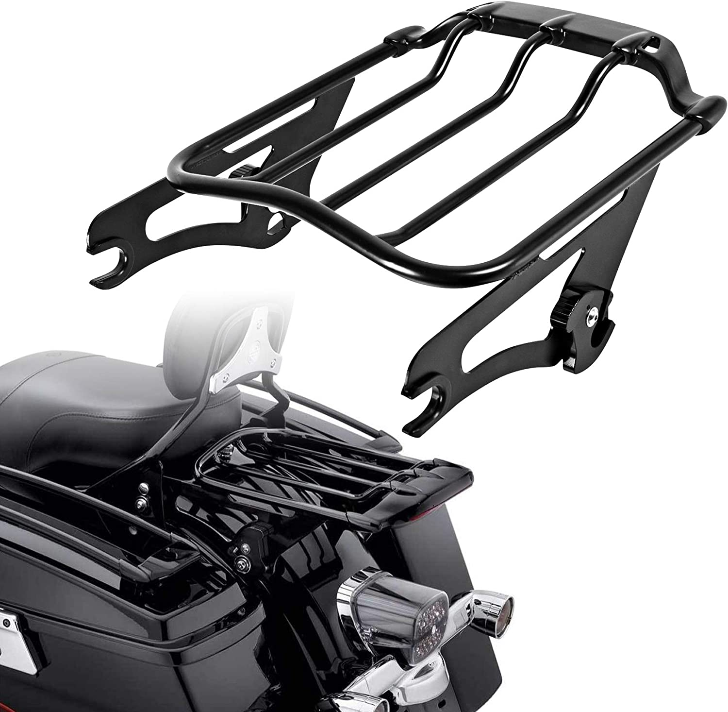 Electra Glide Standard FLHT RG Special FLTRXS Fits 09- Touring Street Glide FLHX Air Wing Detachables Two-Up Luggage Rack for Road King FLHR Ultra Limited FLHTK CVO Road Glide FLTRXSE