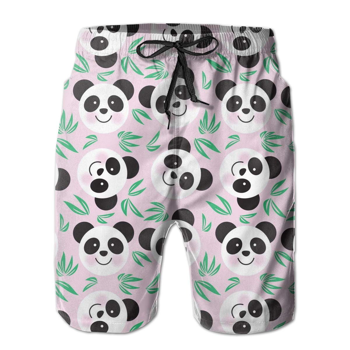 Hateone Life Mens Beach Shorts Quick Dry Pink Panda Summer Holiday Mesh Lining Swimwear Board Shorts with Pockets XXL