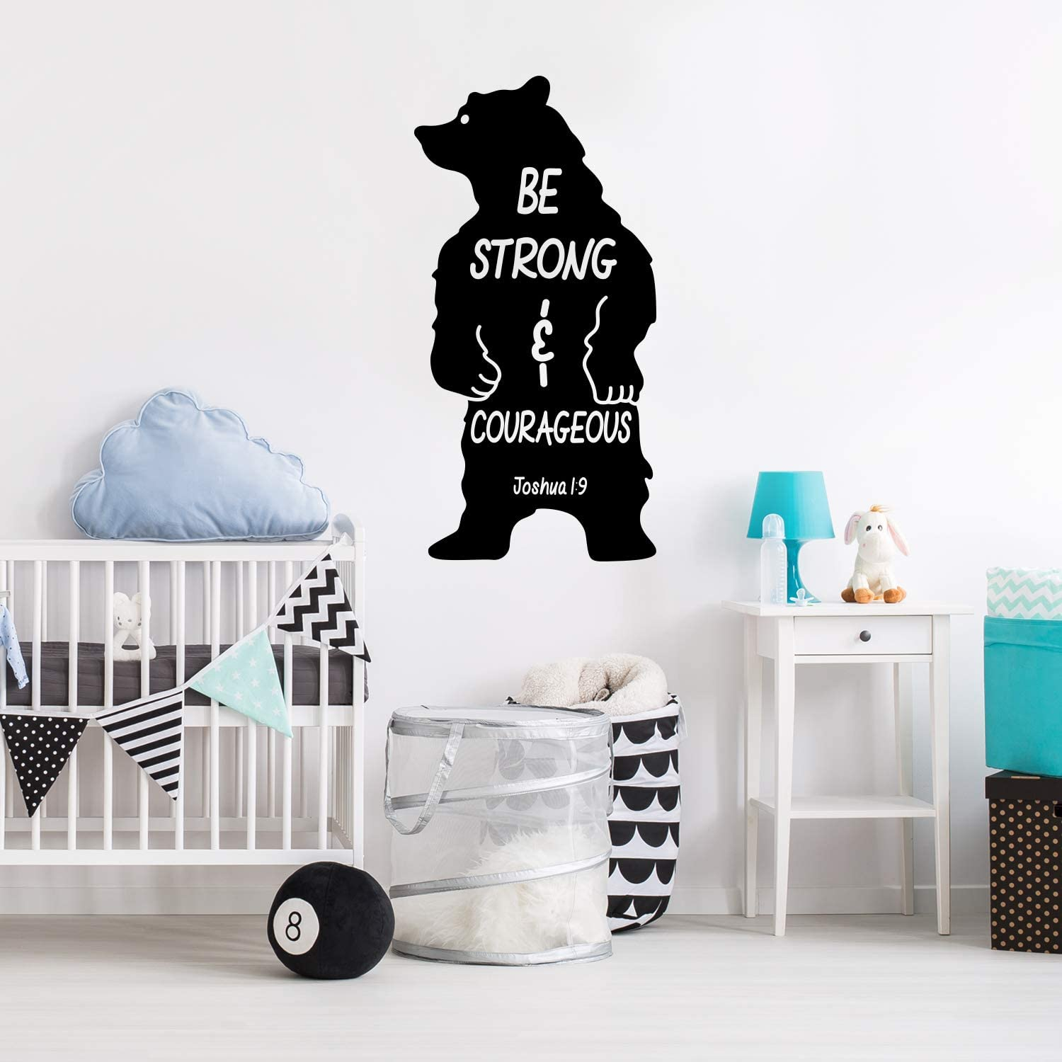"Vinyl Wall Art Decal - Be Strong and Courageous - Joshua 1:9-40"" x 22"" - Verse Religious Christian Faith Cool Bear Shape Kids Toddlers Nursery Playroom Daycare School Classroom Decor"