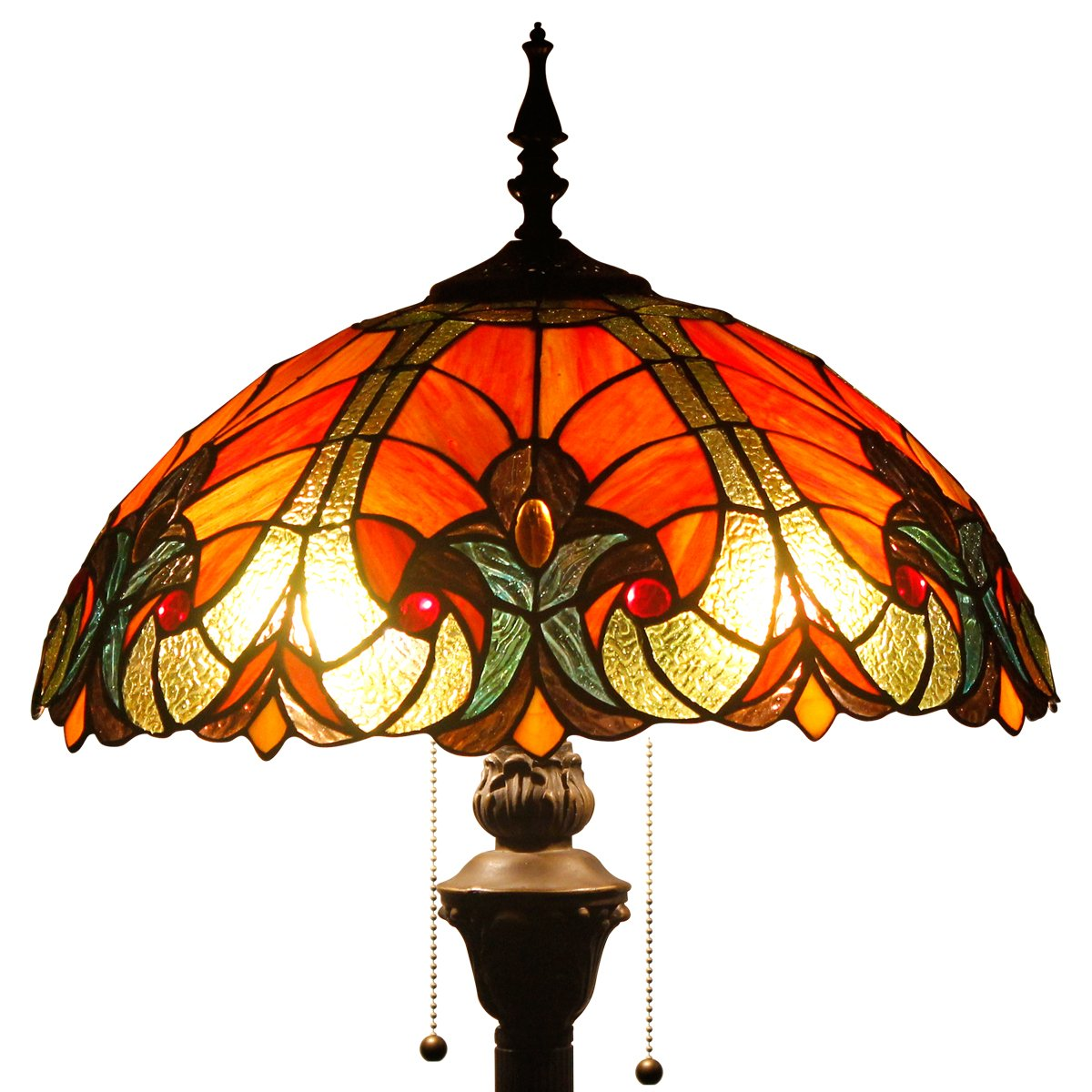 Tiffany Style Floor Standing Lamp 64 Inch Tall Red Liaison Stained Glass Shade 2 Light Antique Base for Bedroom Living Room Reading Lighting Coffee Table Set S160R WERFACTORY