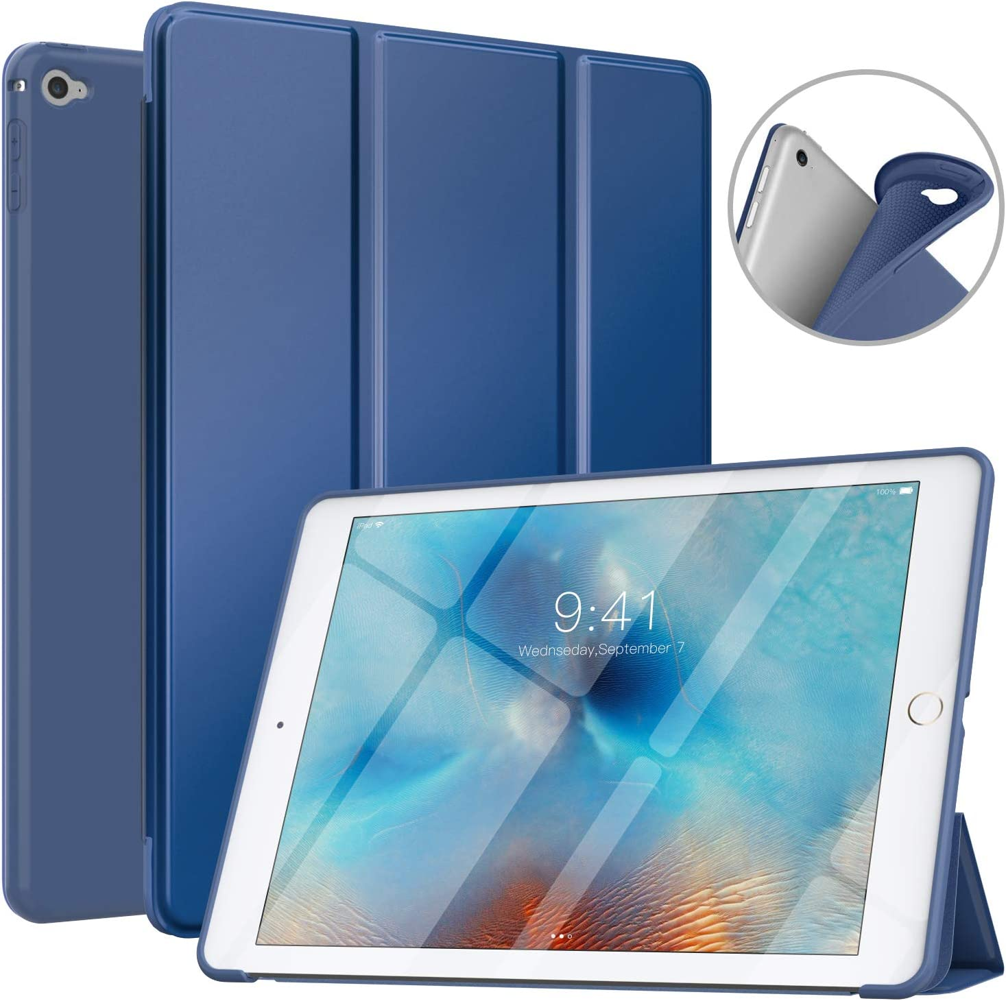 MoKo Case Fit iPad Air 2, Slim Smart Shell Stand Folio Case with Soft TPU Back Cover Compatible with iPad Air 2 9.7