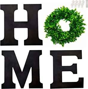 Wooden Home Sign, Home Letters with Wreath for Wall Hanging Decoration, Rustic Wall Letters Decor for Living Room Kitchen Housewarming Gift