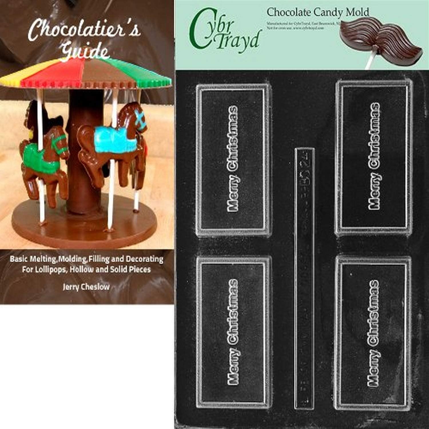 Cybrtrayd Bk-BC024 Merry Christmas Business Card Chocolate Candy Mold with Chocolatiers Guide