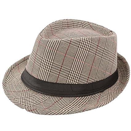 0f17362e3de0a Amazon.com  Men Women Manhattan Structured Gangster Trilby Wool Fedora Hat  (Khaki)  Kitchen   Dining