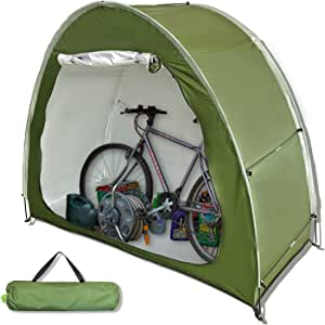 HuaKastro Outdoor Bike Cover Storage Shed for 2 Bikes Silver Coated Waterproof Oxford Bike Tent Space Saving Foldable Bike Shelter for Camping Portable Backyard Storage Cabinet 6.5x5.3 ft