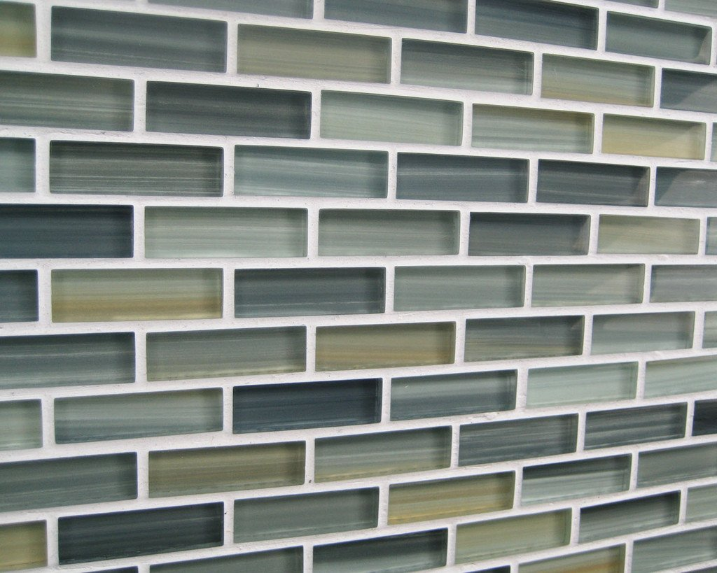 Sample - Beach Break Hand Painted Glass Mosaic Subway Tiles - Kitchen Tile  Backsplash Black - Amazon.com