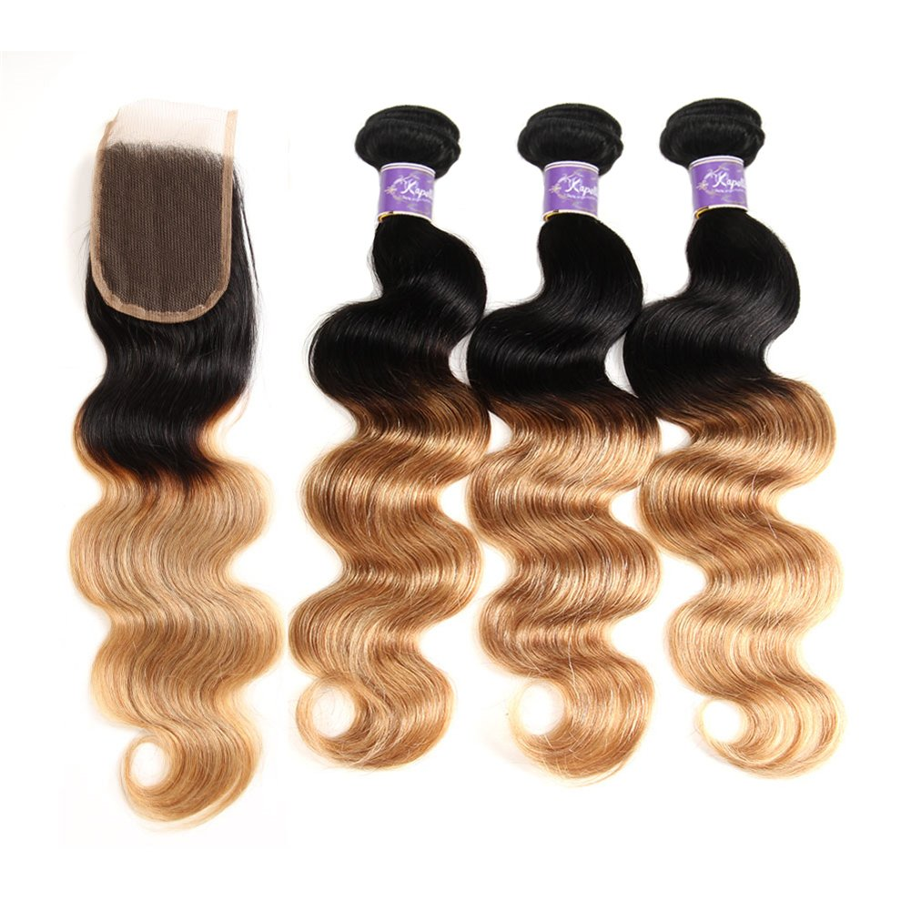 Ombre Brazilian Hair 3 Bundles With Closure, Ombre Human Hair Body Wave 3pcs With Lace Closure (20 22 24+18, #T1B/27) by Kapelli Hair (Image #4)