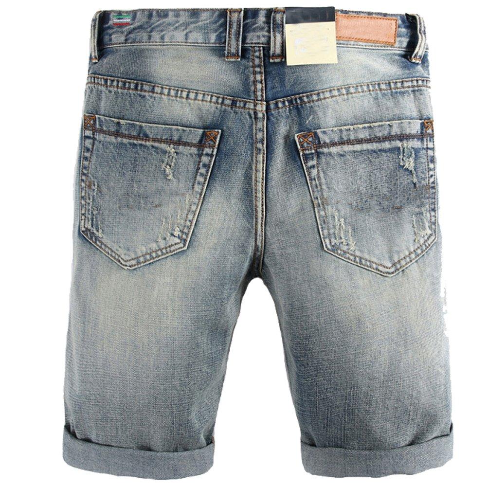 35bbe20e78 Shunht Men's Retro Straight Washed Denim Shorts Broken Hole Jeans Shorts at  Amazon Men's Clothing store: