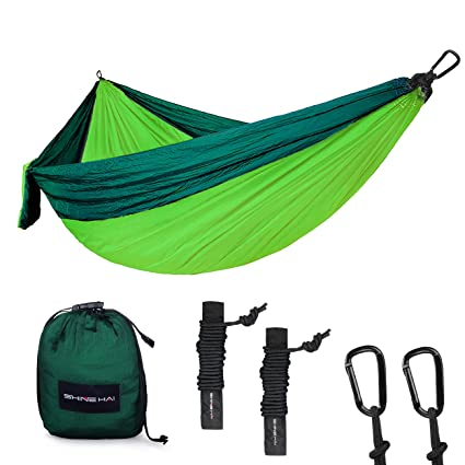 shine hai double camping hammock portable lightweight parachute nylon garden hammock two persons bed amazon    shine hai double camping hammock portable lightweight      rh   amazon