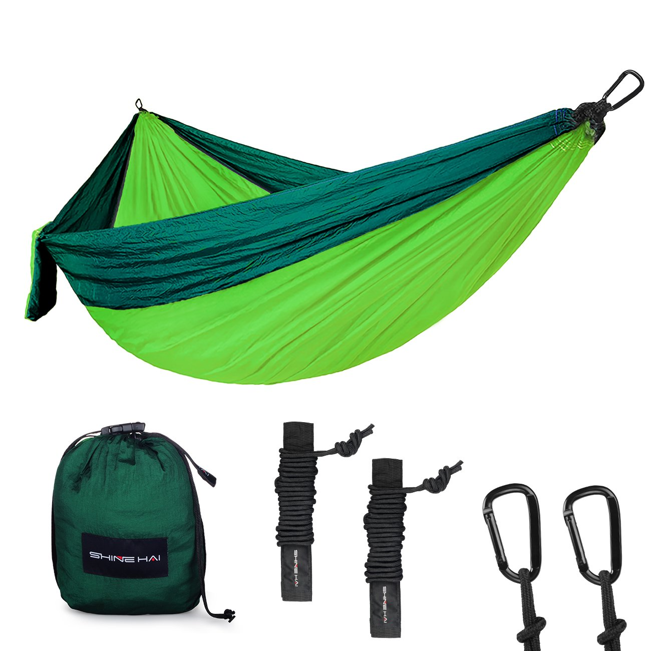 SHINE HAI Double Camping Hammock, Portable Lightweight Parachute Nylon Garden Hammock, Two Persons Bed for Backpacking, Camping, Travel, Beach, Yard by SHINE HAI