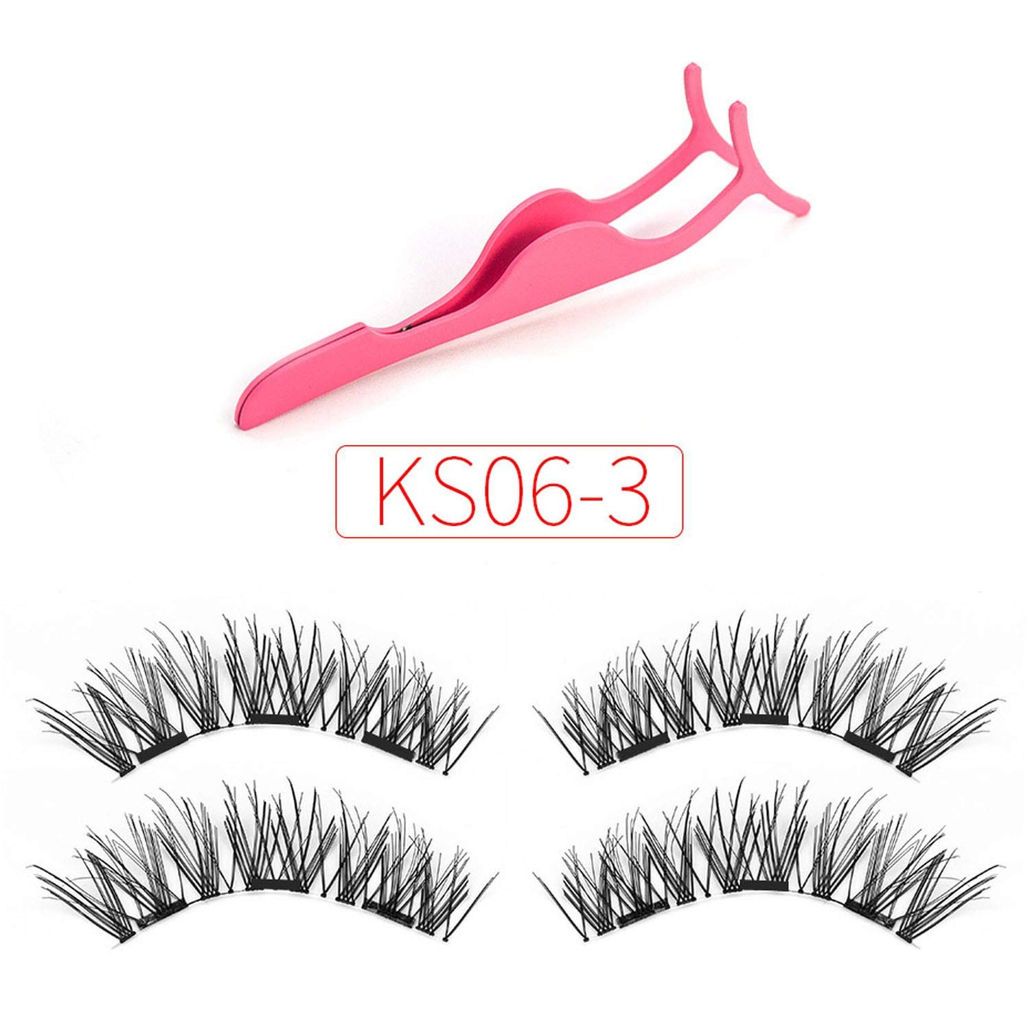 023519d5a22 Amazon.com : 3D Magnetic eyelashes with 3 magnets handmade natural false  eyelashes magnet lashes with gift makeup wiht tweezers, KS02-3 : Beauty