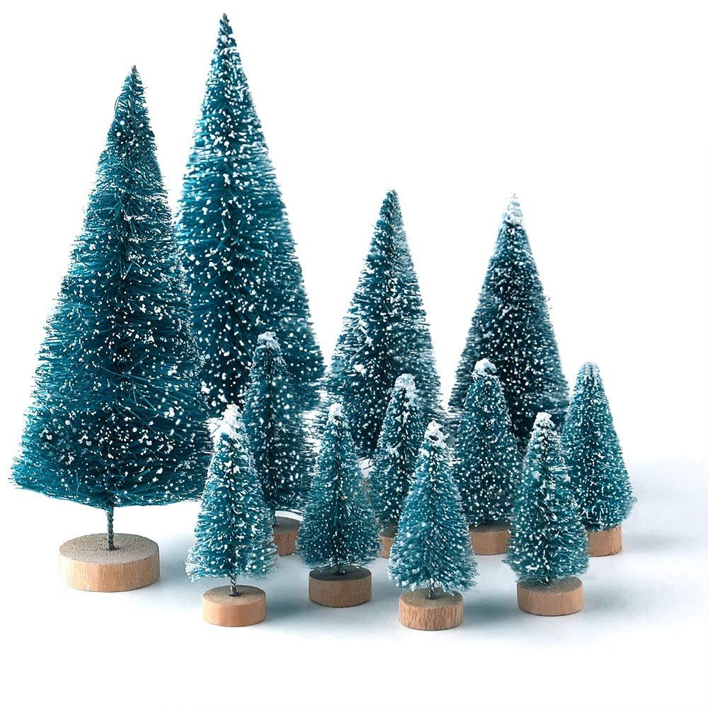 KUUQA 28PCS Mini Village alberi glassati alberi pennello bottiglia con basi in legno per la decorazione del partito casa e esposizione artigianale