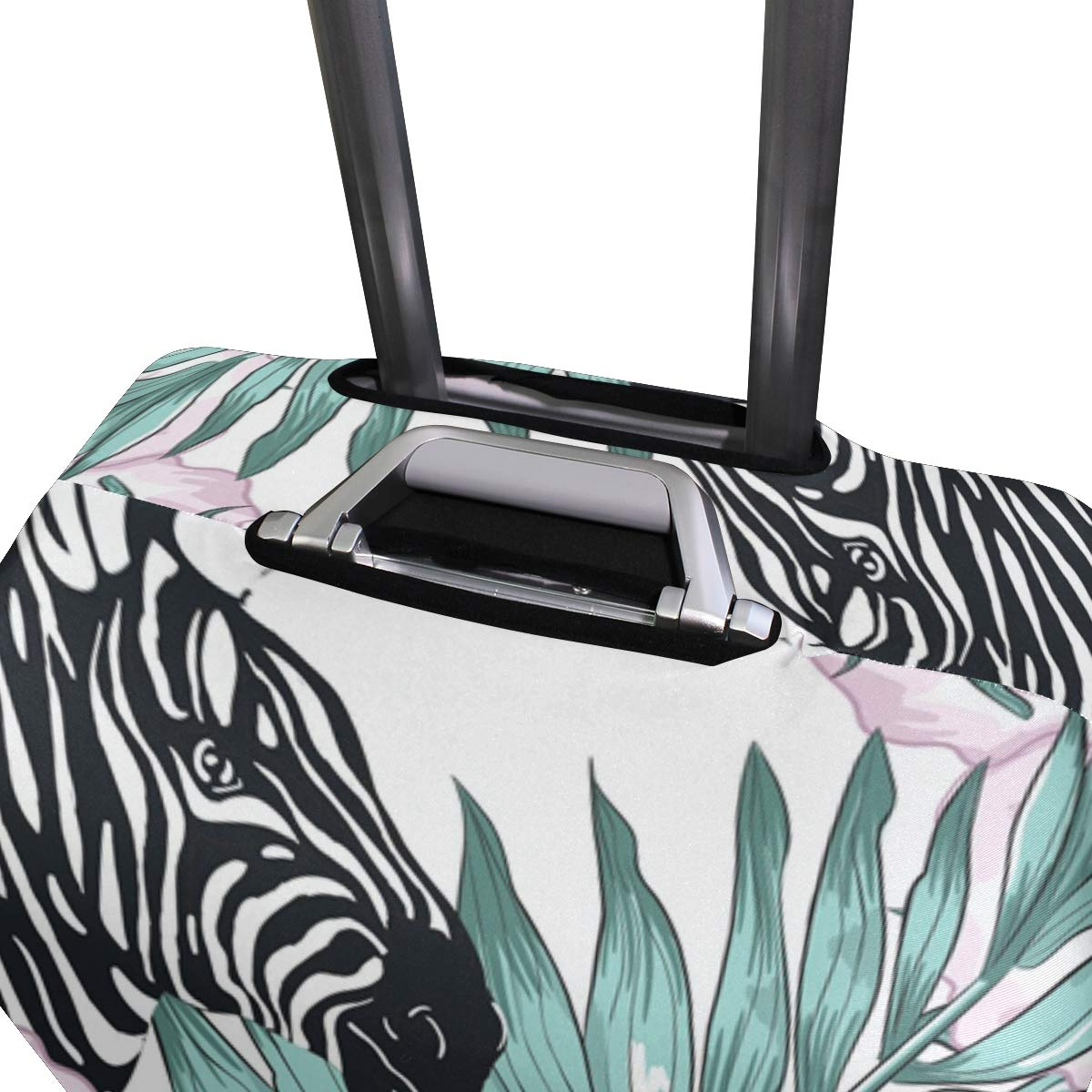 Tropical Palm Leaves Zebra Travel Luggage Cover Spandex Washable Suitcase Protective Cover Baggage Protector Fit 18-32 inch Suitcase
