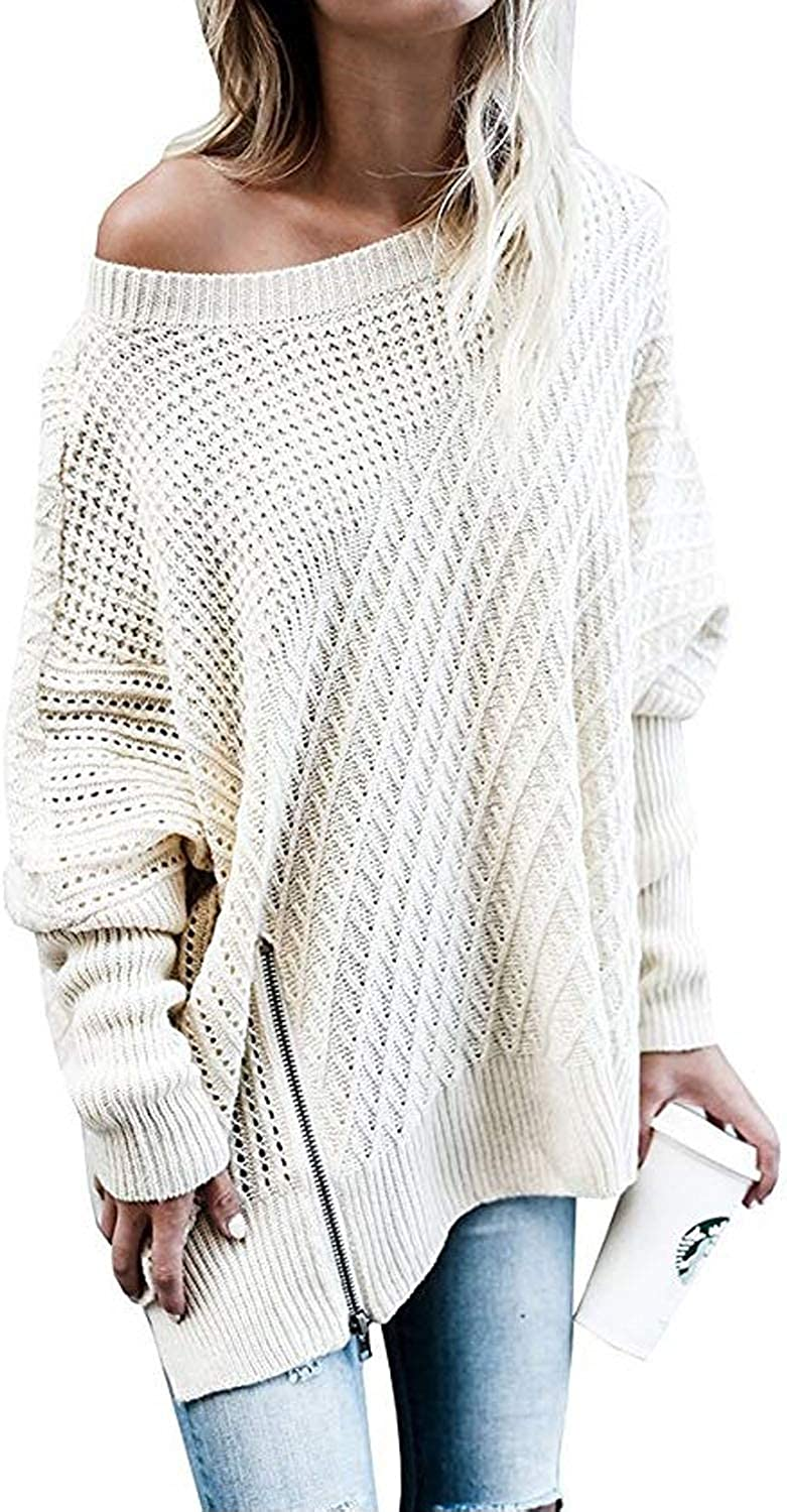Womens Ladies off shoulder style Pure Wool Jumper Knitted Baggy Sweater