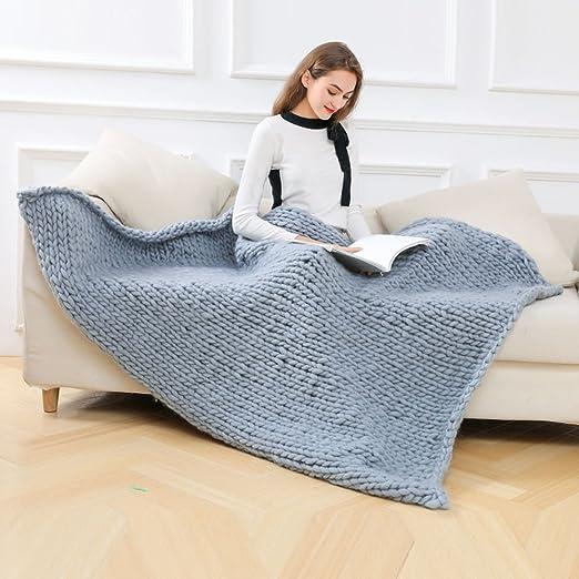 Sonnena mano – Ovillo de lana manta de punto grueso Bulky Para Tejer manta decoración del hogar 120 * 150 cm, algodón, gris, 120*150cm: Amazon.es: Hogar